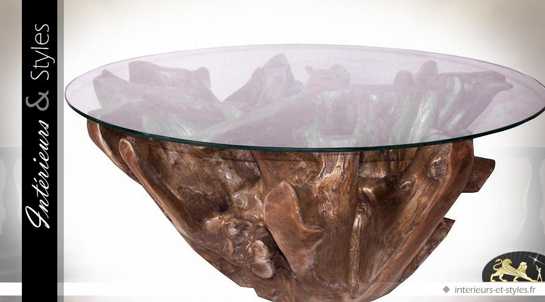 Table basse en teck doré avec plateau en verre trempé Ø 102 cm