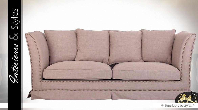 Canap 3 places tissu couleur gr ge avec coussins - Canape deux places tissu ...