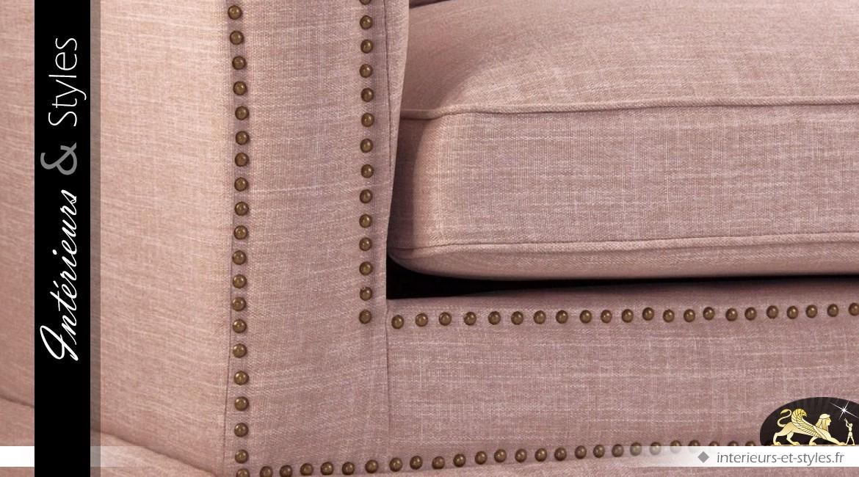 Canapé 3 places tissu couleur grège avec coussins