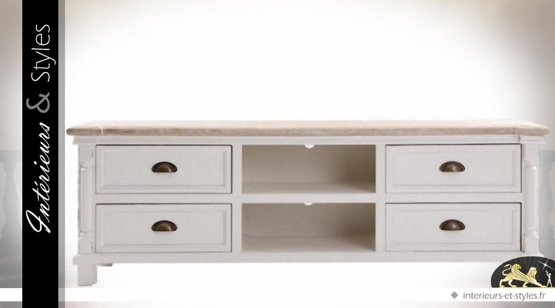 Meuble TV shabby chic blanc bois natrurel 4 tiroirs 2 niches ...