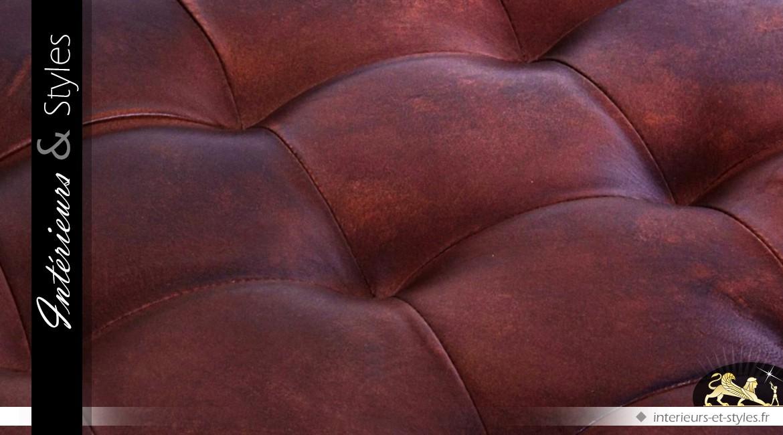 Table basse carrée cuir Cognac et métal noir