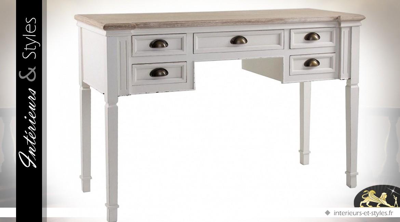 bureau blanc et bois naturel style cottage int rieurs styles. Black Bedroom Furniture Sets. Home Design Ideas