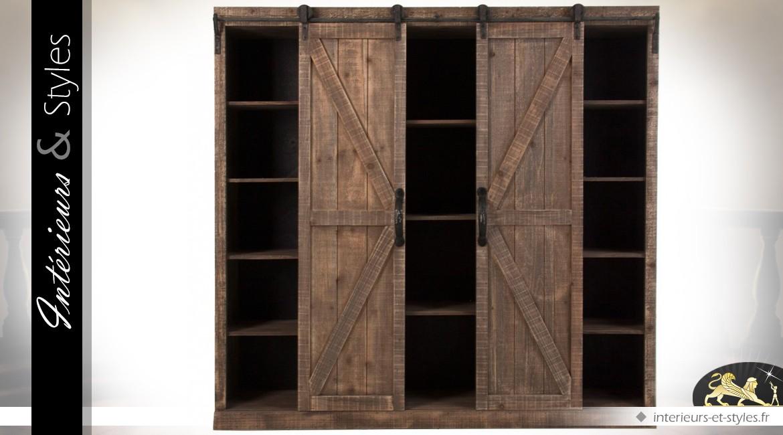 buffet en bois et m tal de style rustique portes coulissantes int rieurs styles. Black Bedroom Furniture Sets. Home Design Ideas