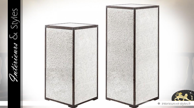 Série de 2 sellettes design en bois et métal noir et argent ...