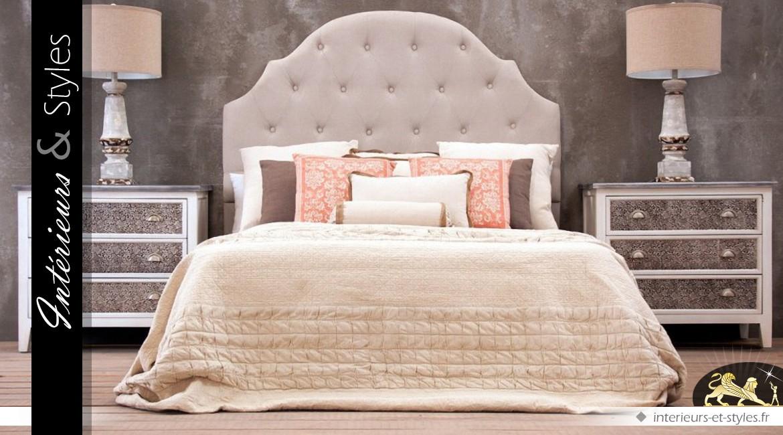 t te de lit capitonn e en arcade coloris gris beige 160 cm. Black Bedroom Furniture Sets. Home Design Ideas