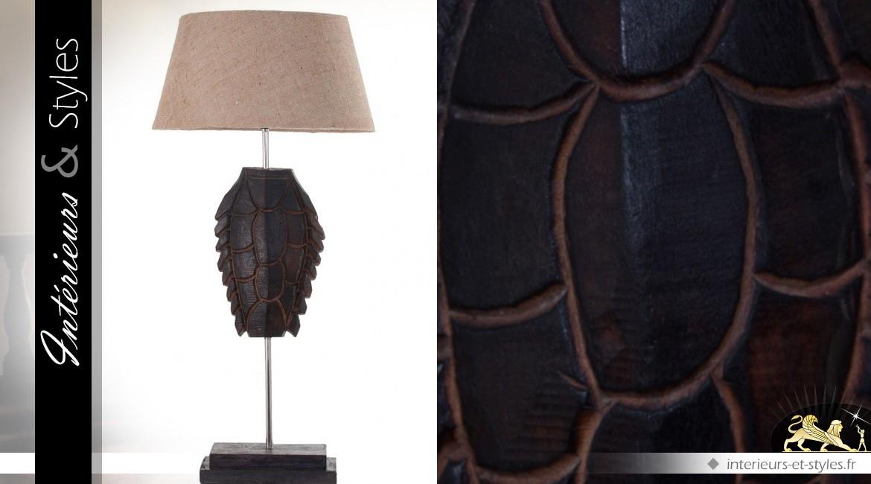 Lampe de salon acacia et métal sculpture tortue stylisée