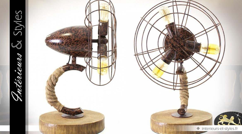 Lampe de table de style rétro en forme de ventilateur 60 cm