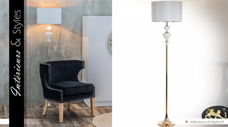 Lampadaire rétro blanc et or en verre et métal 143 cm