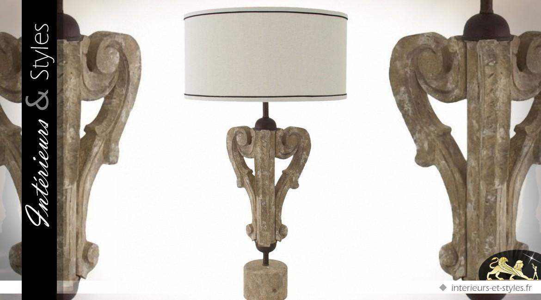 Lampe De Salon Pied Sculpte En Bois D Eucalyptus 78 Cm Interieurs