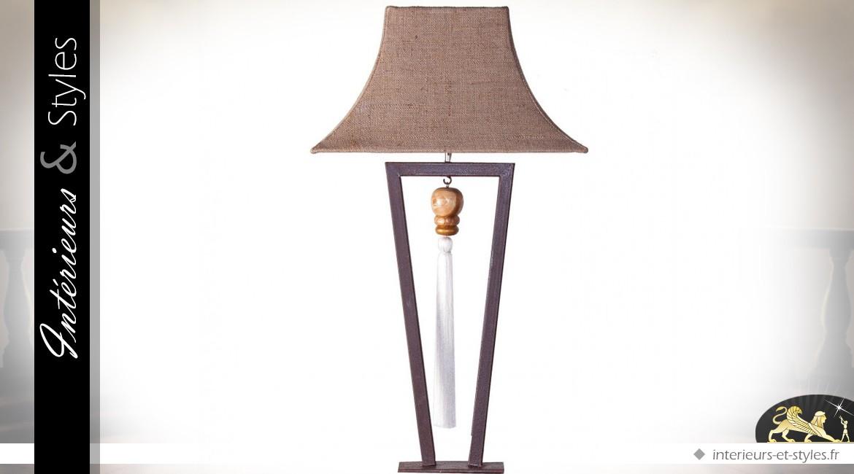 Lampe de salon design en métal noir, teck vernis et tissu écru