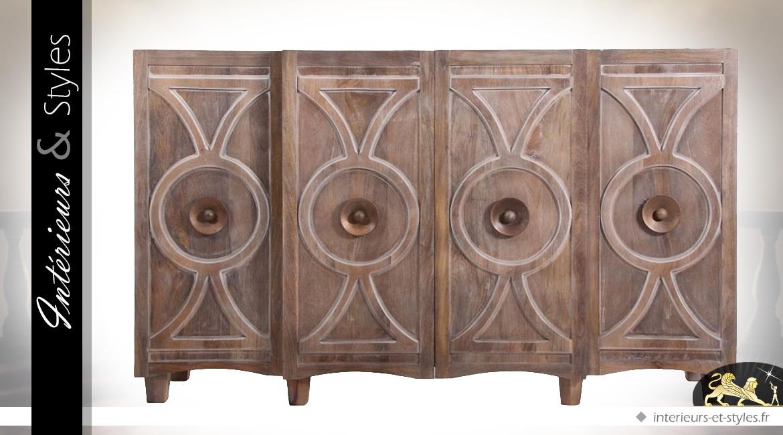 Buffet Enfilade Portes Style Art Déco En Manguier Intérieurs - Enfilade 4 portes