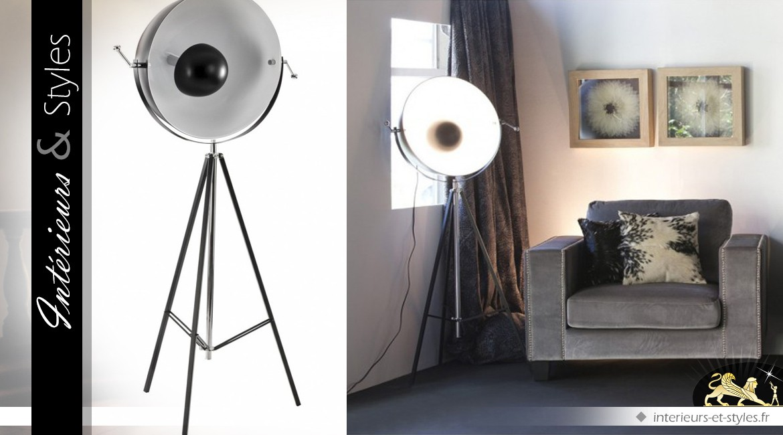 Grand lampadaire vintage design en demi-sphère 160 cm