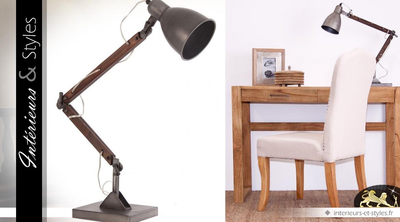 Grande Lampe De Bureau Articulée Vintage Bois Et Métal 72 Cm