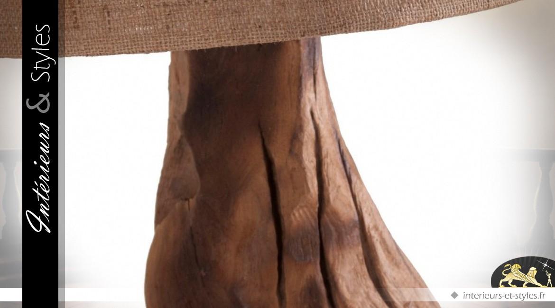 Lampe tronc d'arbre acacia massif et toile de jute 93 cm