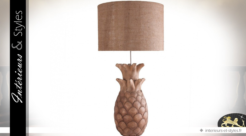 Lampe de salon en suar massif sculpté forme ananas 81 cm