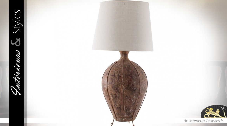Lampe de salon en terre cuite et métal vieilli 103 cm