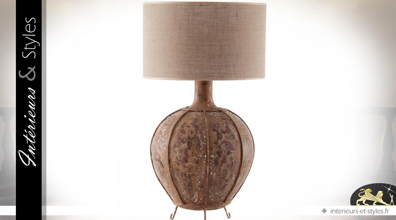 Lampe de salon en terre cuite, métal et toile de jute 75 cm