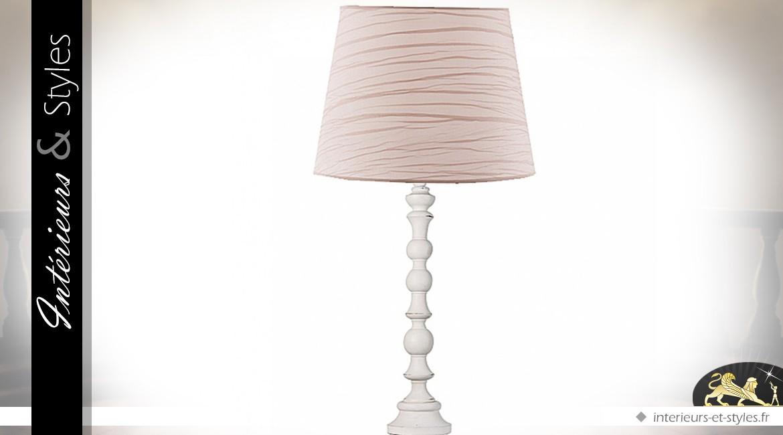 Lampe blanche en bois tourné avec abat-jour crème 95 cm