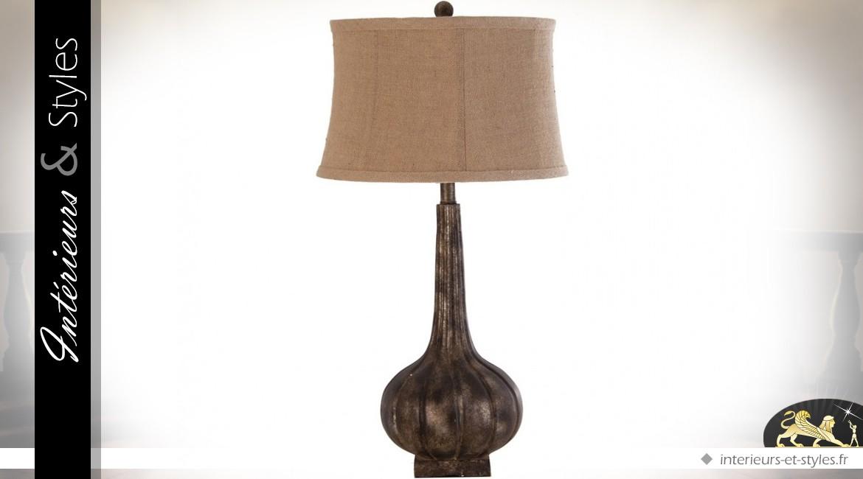 Lampe fiasque rétro coloris marron avec abat-jour lin écru 75 cm