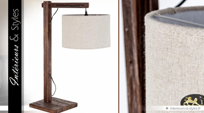 Lampe de table à abat-jour suspendu en bois de sassafras 84 cm