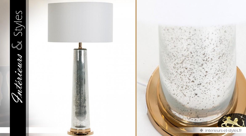 Lampe colonne argentée et dorée avec abat-jour blanc 88 cm
