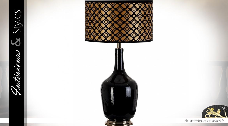 Grande lampe en verre métal et abat-jour en soie et satin brillant 80 cm