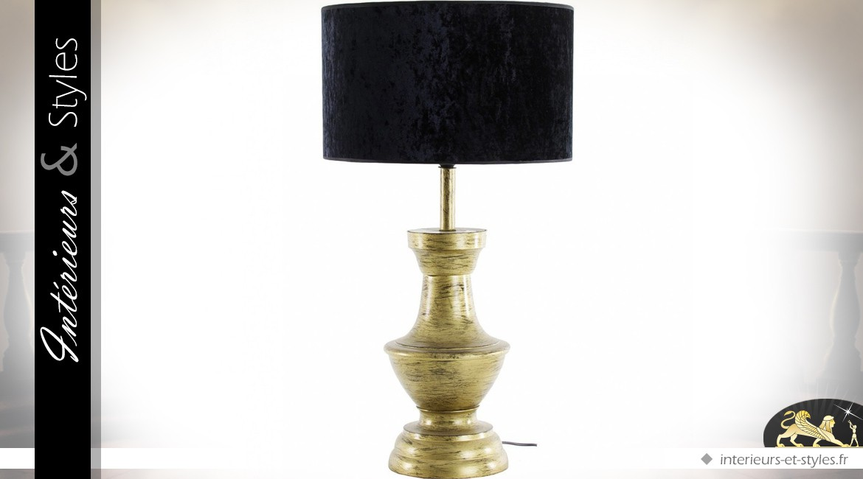 Lampe rétro design en aluminium finition noir et or 78 cm