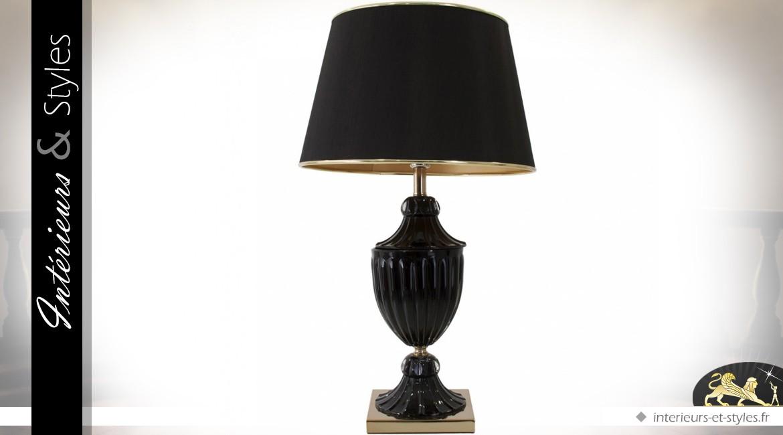 Lampe De Table Noir Et Or A Pied Godronne Et Abat Jour Noir 77 Cm