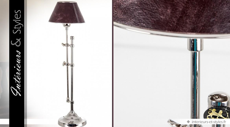Lampe sur pied chromé avec abat-jour en cuir marron 70 cm