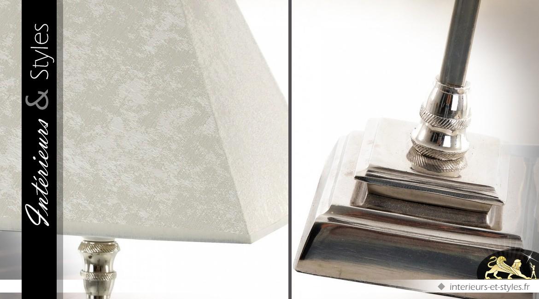 Lampe de salon chrome et velours blanc 72 cm
