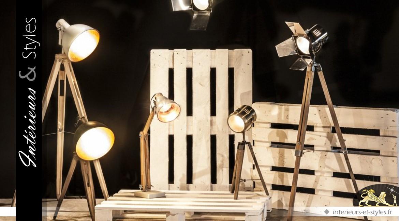 Lampe de bureau bois et métal à bras articulé cm intérieurs
