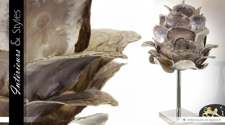 Lampe fleur en métal chromé et grands coquillages 65 cm