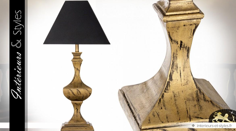 Lampe de style rétro classique noir et or 69 cm