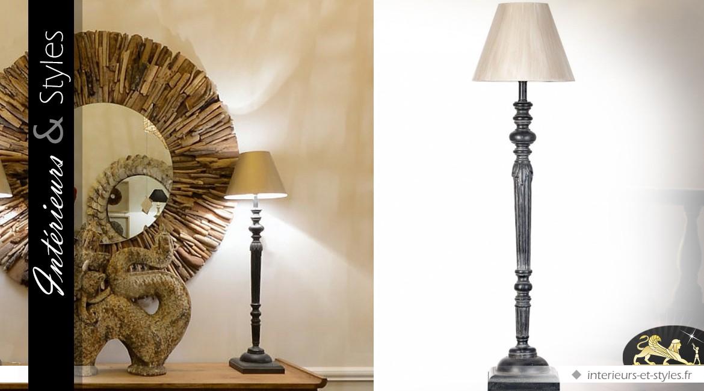 lampe haute de style classique en bois tourn noir et vieilli 89 cm int rieurs styles. Black Bedroom Furniture Sets. Home Design Ideas