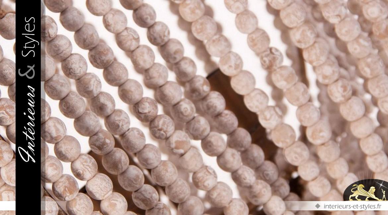 Lustre à pampilles en perles de bois blanc 3 points lumineux