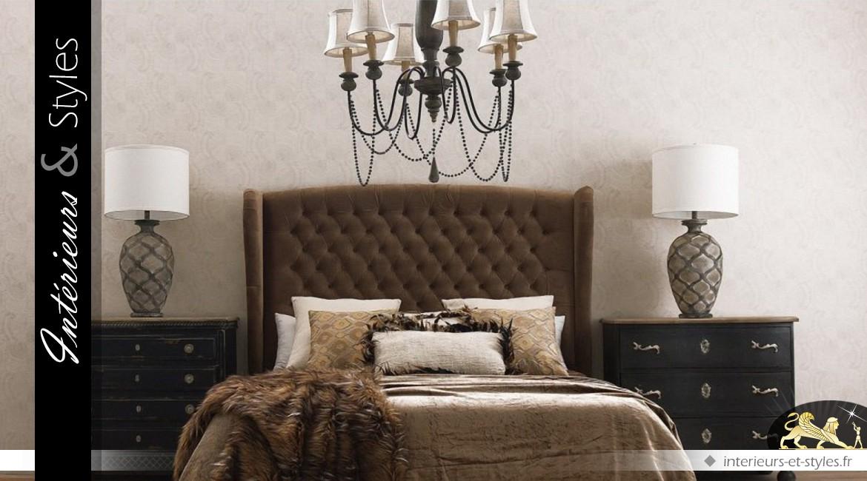lustre rustique et r tro en bois et m tal 6 feux int rieurs styles. Black Bedroom Furniture Sets. Home Design Ideas