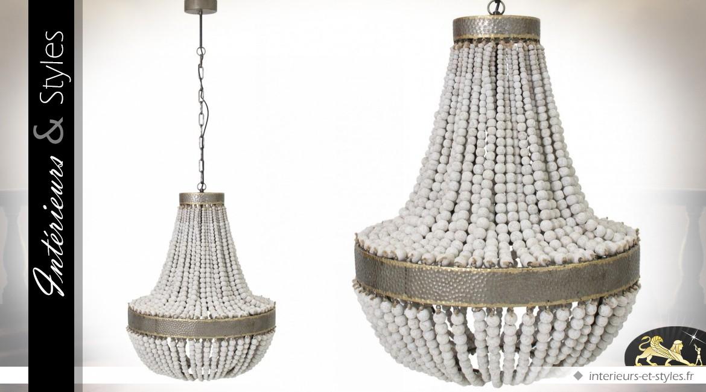 Lustre Montgolfière en métal doré et perles d'érable 77 cm