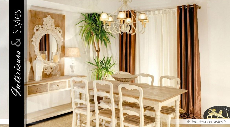 grand lustre baroque blanc cr me en m tal 6 points lumineux 78 cm int rieurs styles. Black Bedroom Furniture Sets. Home Design Ideas