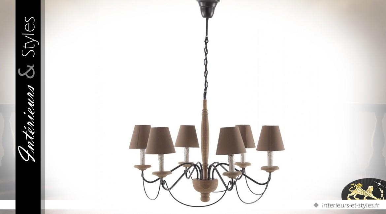 Lustre baroque et rustique en bois et métal à 6 feux