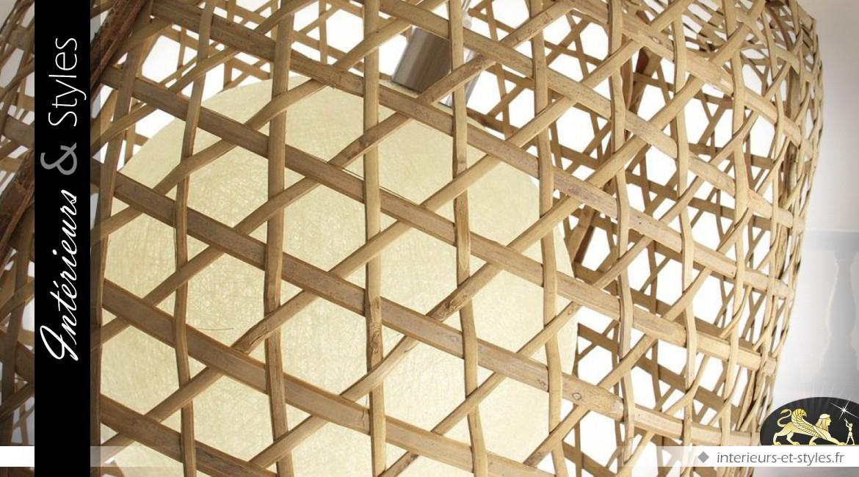 Luminaire Suspendu En Bambou De Style Exotique 65 Cm | Intérieurs