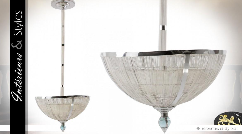 Grande suspension en métal en rotin blanc et métal chromé Ø 100 cm
