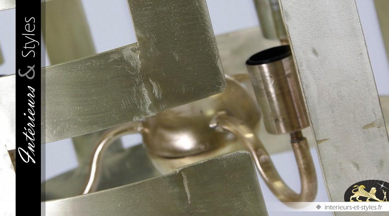 Suspension dorée cylindrique de style design Ø 66 cm