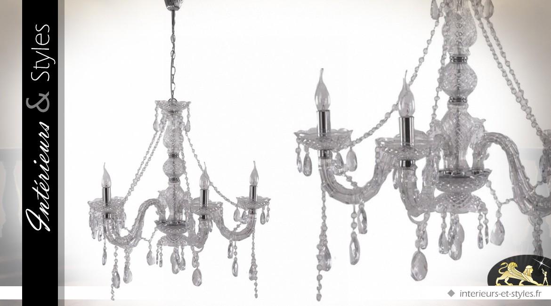 Lustre à pampilles de style baroque 5 points lumineux Ø 64 cm