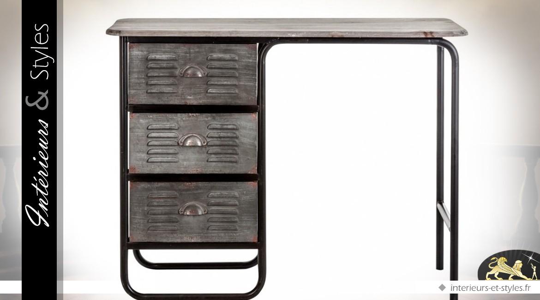 Bureau style industriel bois et métal vieillis 3 tiroirs