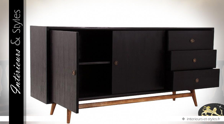 buffet scandinave vintage noir et bois naturel. Black Bedroom Furniture Sets. Home Design Ideas