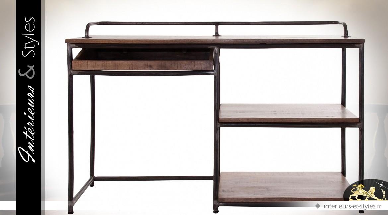 bureau de style industriel et r tro en bois et m tal. Black Bedroom Furniture Sets. Home Design Ideas