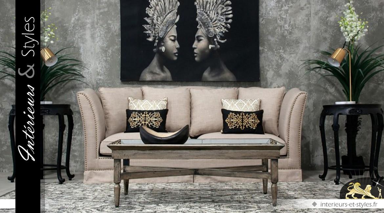 Table basse bois vieilli plateau verre et miroir vénitien