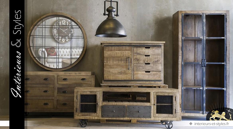 Grand miroir rond industriel en bois et m tal 122 cm int rieurs styles for Grand miroir mural industriel