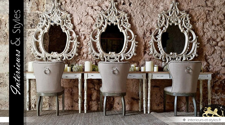 miroir baroque ajour finition ch ne sculpt vieilli et blanchi 150 cm int rieurs styles. Black Bedroom Furniture Sets. Home Design Ideas