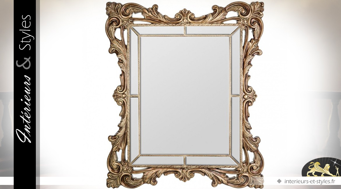 Tr s grand miroir dor parcloses de style baroque 189 cm for Grand miroir baroque